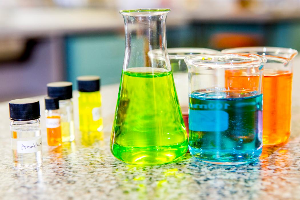 coloured chemicals in flasks