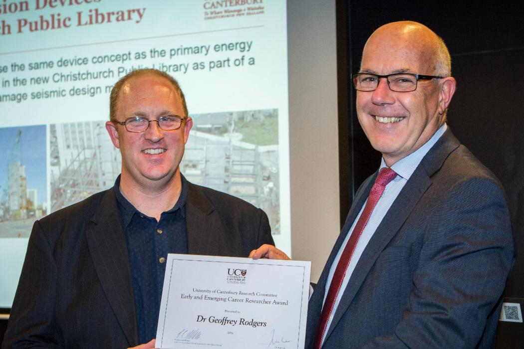 Geoffrey Rogers receiving Early Career and Emerging Researcher Award
