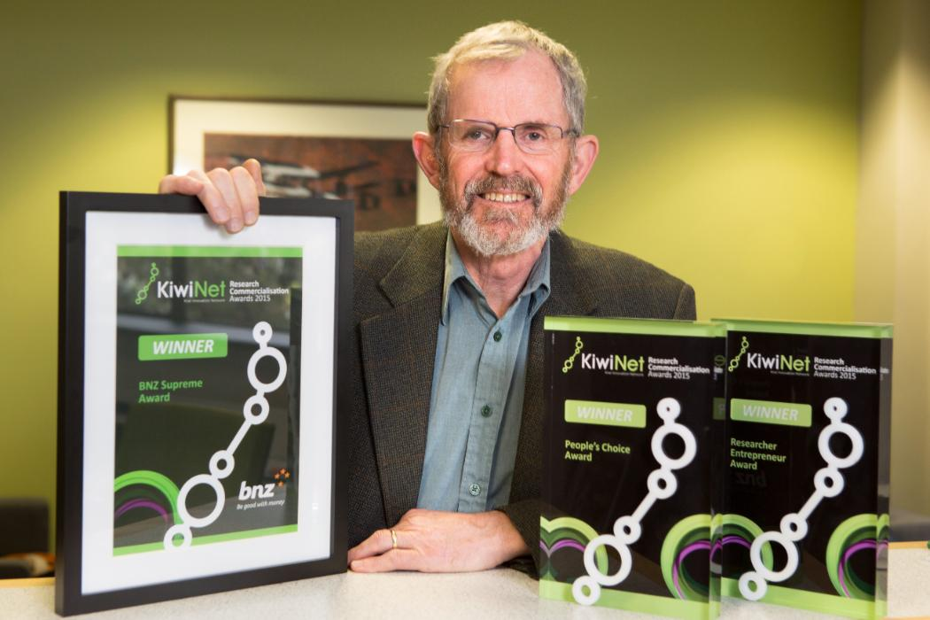 Andy Buchanan with his KiwiNet awards