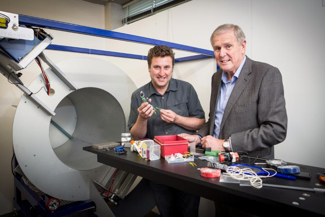Phil and Anthony Butler with the prototype of their 3D colour body scanner