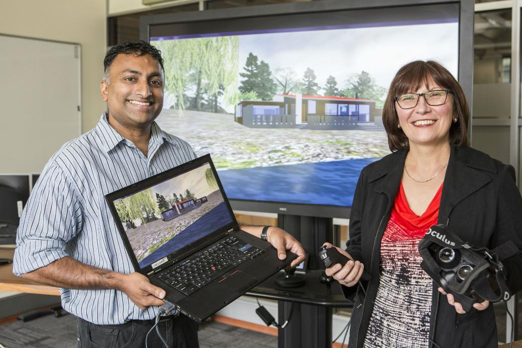 CSSE researchers with virtual reality equipment