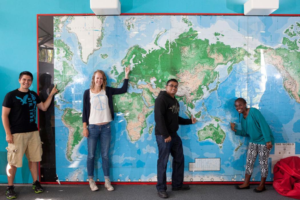 Ilam apartments students map wall landscape