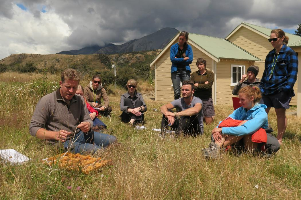 Group field work in mountains