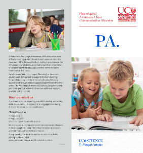 If you have concerns regarding your child's reading and writing skills, please contact the Speech and Language Clinic during business hours to make an appointment.