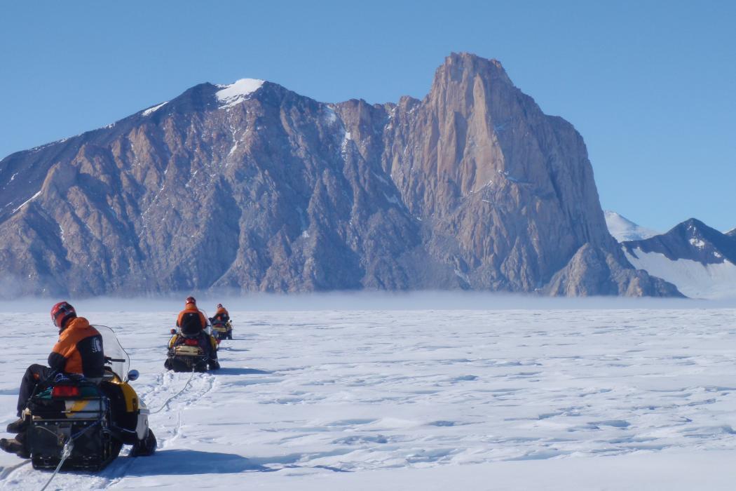 riding snowmobiles in Antarctica