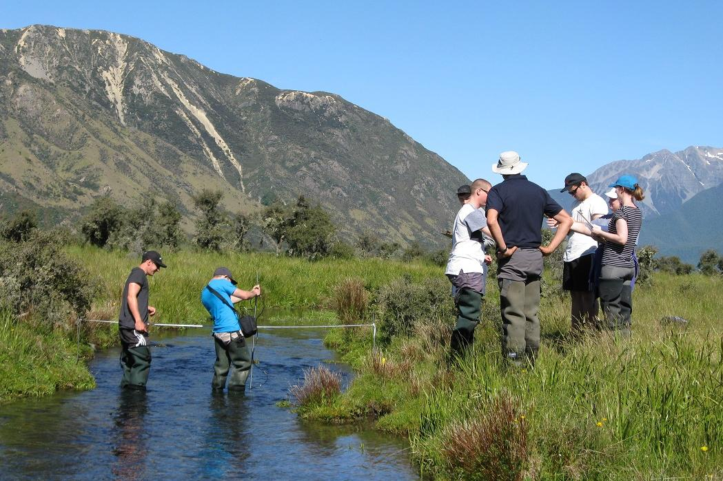 water resource students working in stream