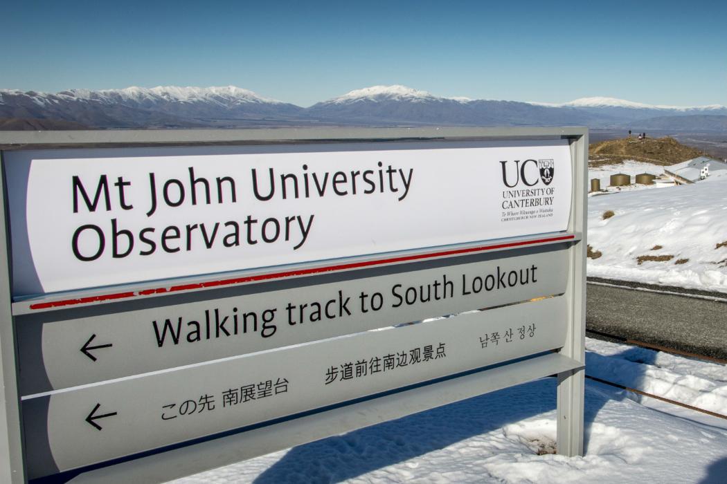 Mt John Observatory sign in winter