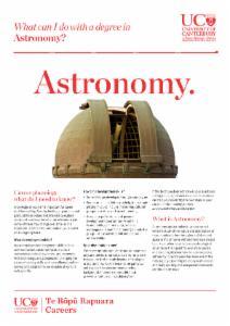 Careers Astronomy