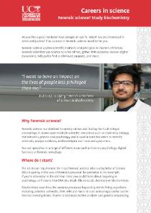 Careers in Science - Forensic Science - Biochemistry brochure