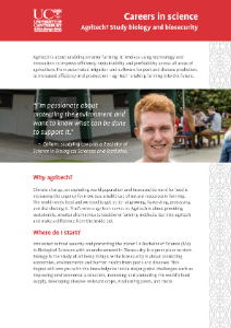 Brochure for the College of Science's Agritech BSc package with Biology major and Biosecurity endorsement