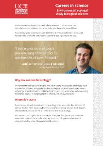 Careers in Science - Environmental Ecology brochure
