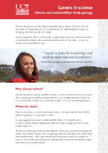 Careers in Science - Climate and Sustainability brochure