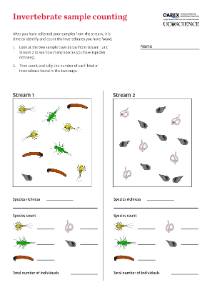 Invertebrate sample counting activity in the freshwater biodiversity outreach box