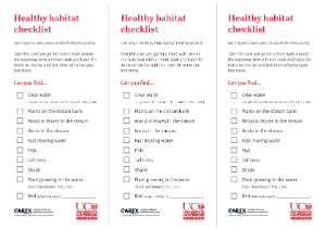 Healthy habitat checklist as part of the freshwater biodiversity outreach box