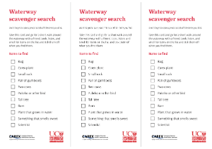 Waterway scavenger hunt activity as part of the freshwater biodiversity outreach box