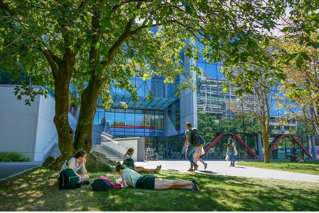 students in shade outside ernest rutherford