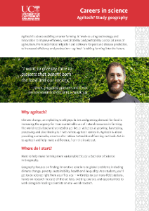 Brochure for the College of Science's Agritech BSc package with Geography major.