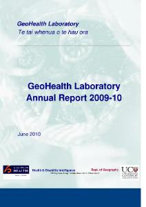 GeoHealth Laboratory Annual Report 2009-10