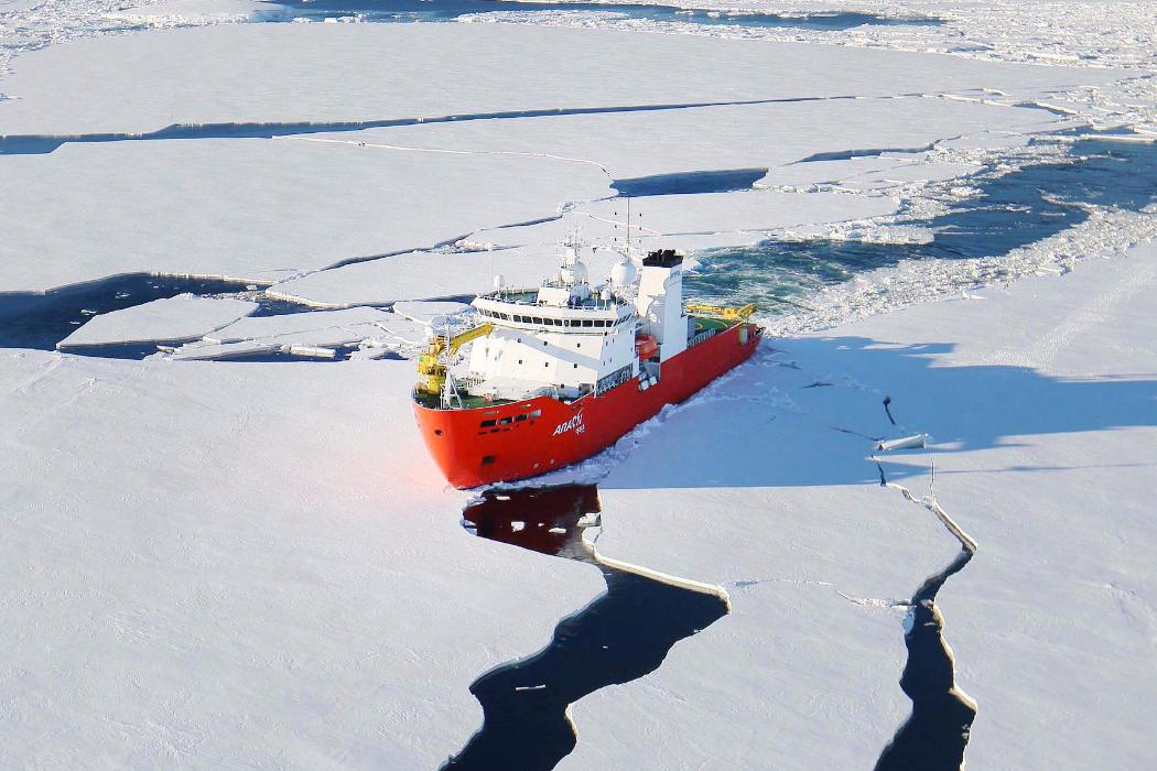 ship in Antarctica sailing through ice