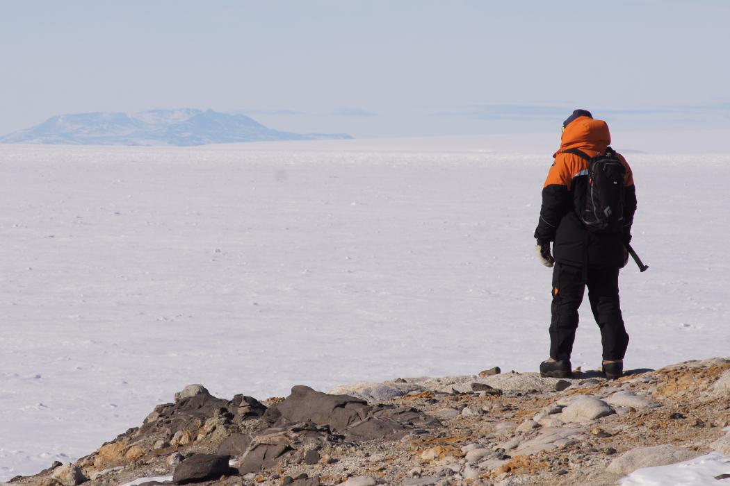 lone researcher standing on rock in Antarctic