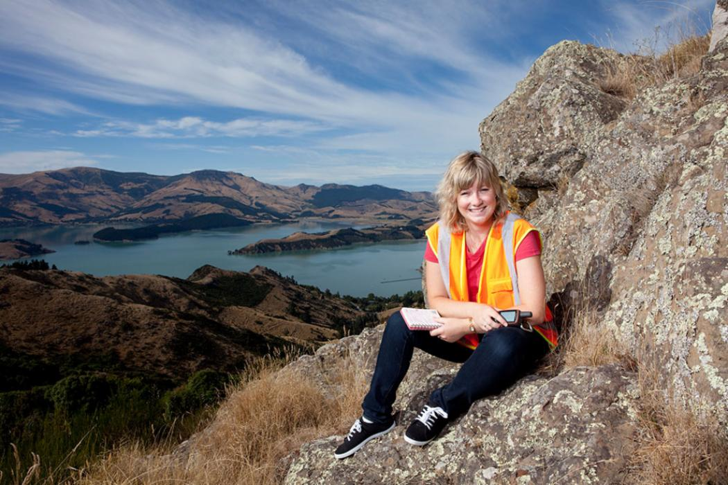 Female student port hills landscape