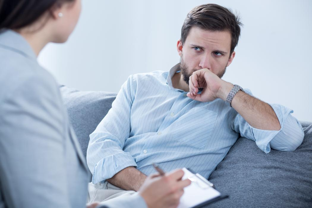 psychotherapy session between man and women