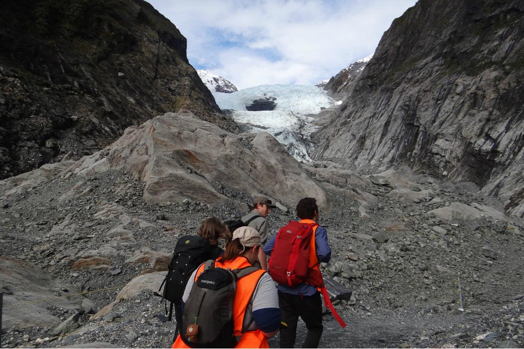 Hiking up glacier, Geology