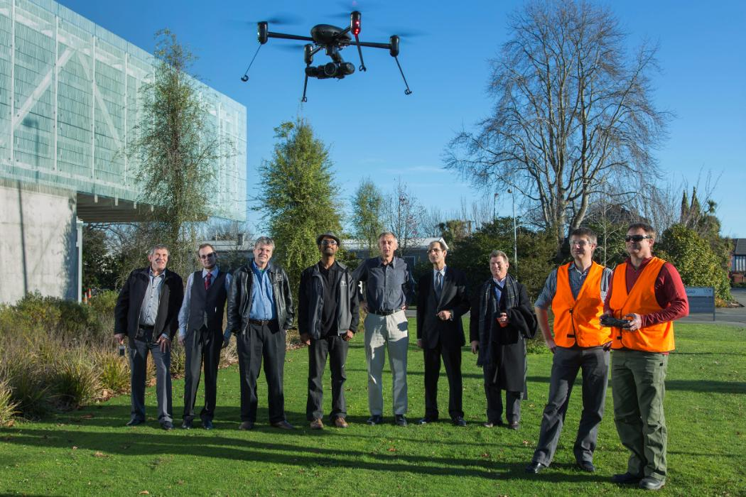 UAV forum members with a drone