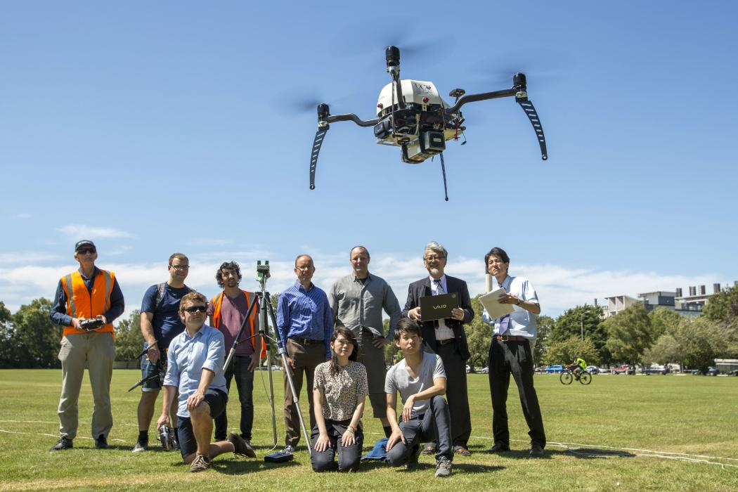 A team of researchers flying a drone