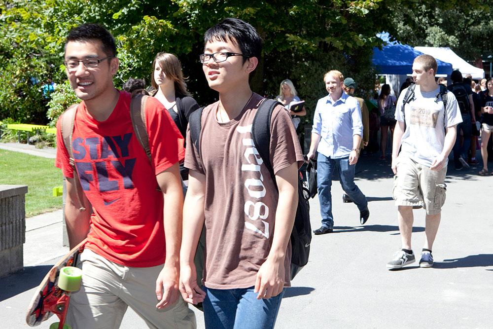 Students orientation week skateboard landscape