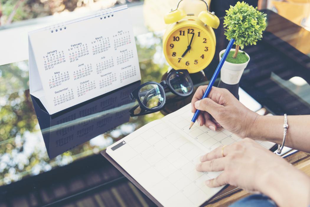 Woman using a week planner