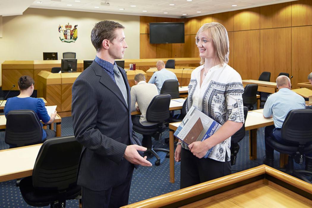 Law 2 court suit talking landscape