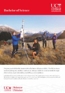 Brochure on UC's Bachelor of Environmental Science with Honours degree.