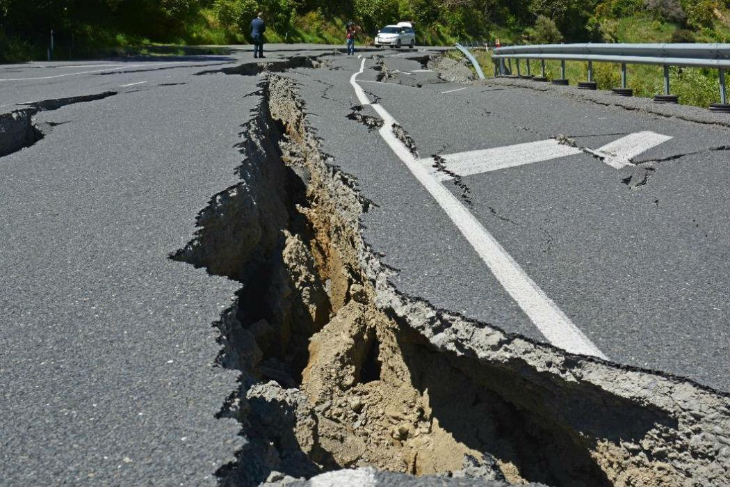 Road cracked from Kaikoura earthquake