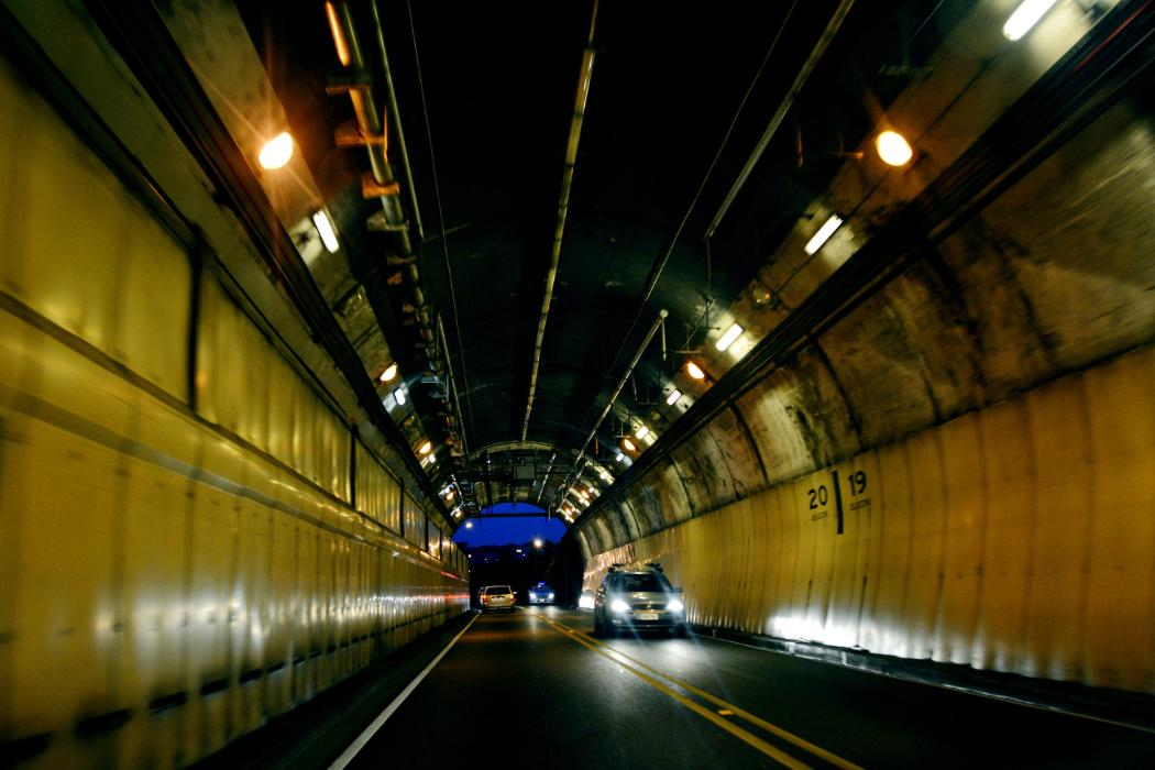 terrace tunnel at night with cars