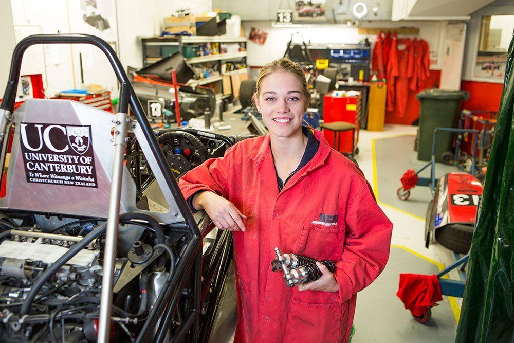 Mechanical engineering student Georgina Blane building a car
