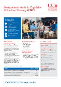 Brochure on UC's postgraduate programmes in Cognitive Behaviour Therapy (CBT).