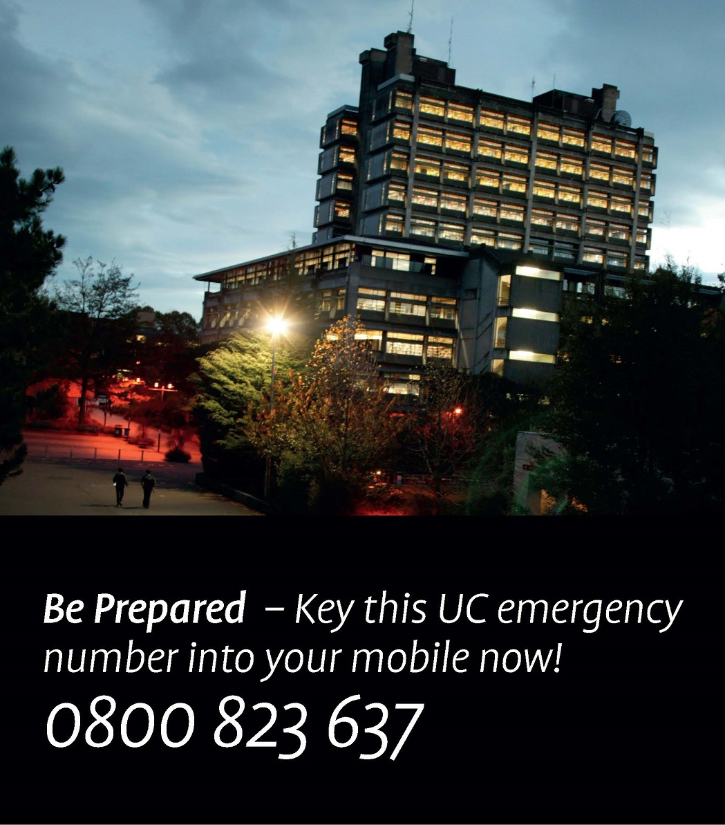 Be Prepared Poster, UC Security emergency number 0800 823 637