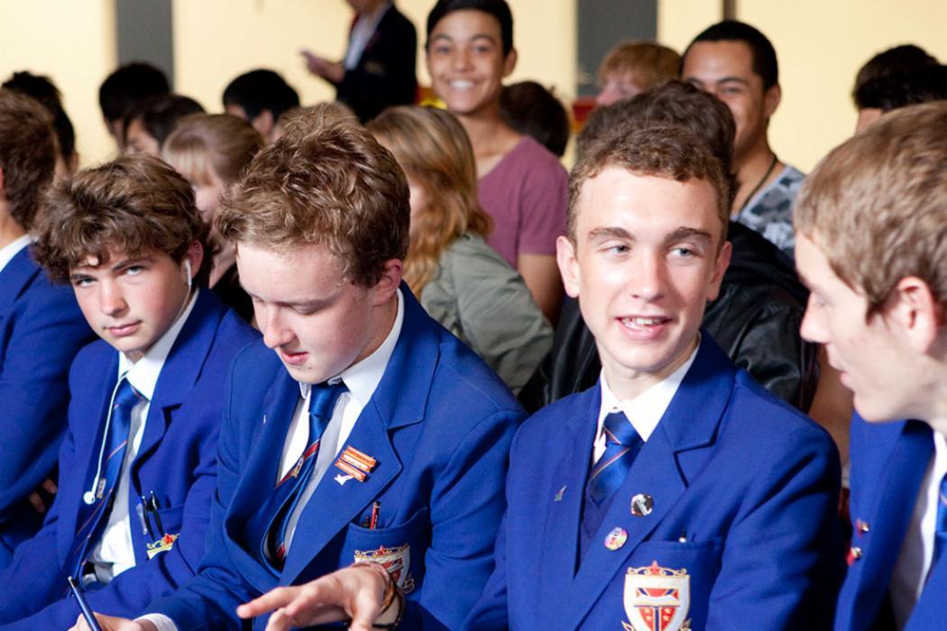 High school boys students landscape