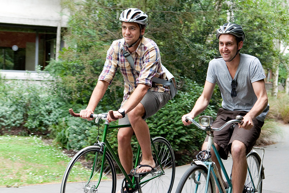Students on bikes, cyclists, cycling