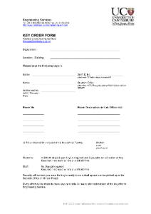 Engineering Services Key order form