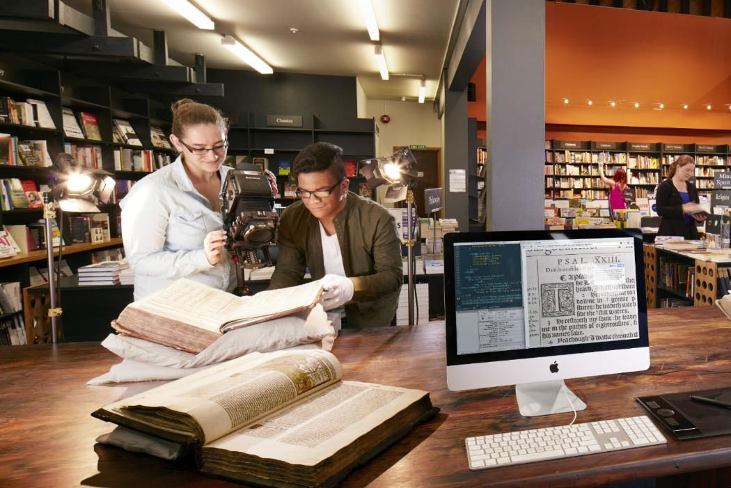 Arts students study manuscript