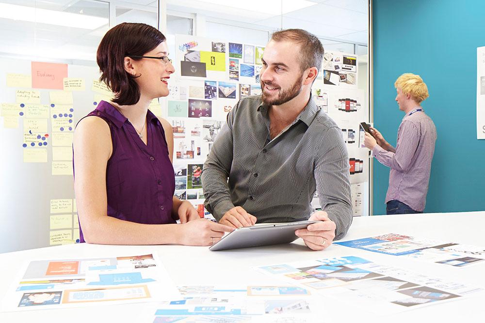 Business 2 talking tablet landscape