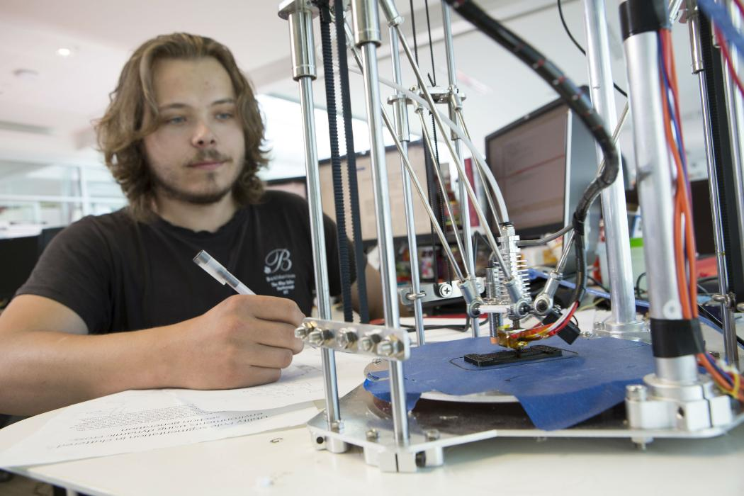 Student working on 3D printing